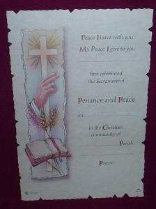 Reconciliation certificate measuring 26cm x 17.5cm