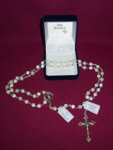 Mother of Pearl Rosary with circular beads