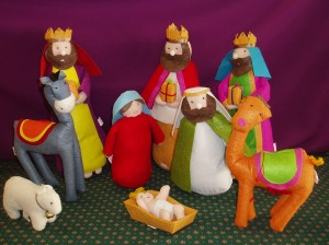 A cloth nativity set, ideal for young children