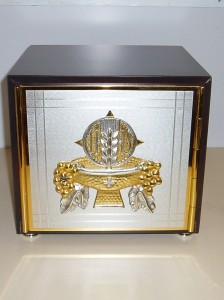 Wooden Tabernacle with metal door and gold interior