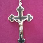 Metal Crucifix with Black Inlay