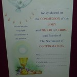 Communion and Confirmation Certficate